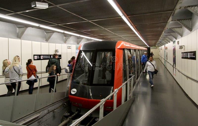 Montjuic funicular de Barcelona imagen de archivo