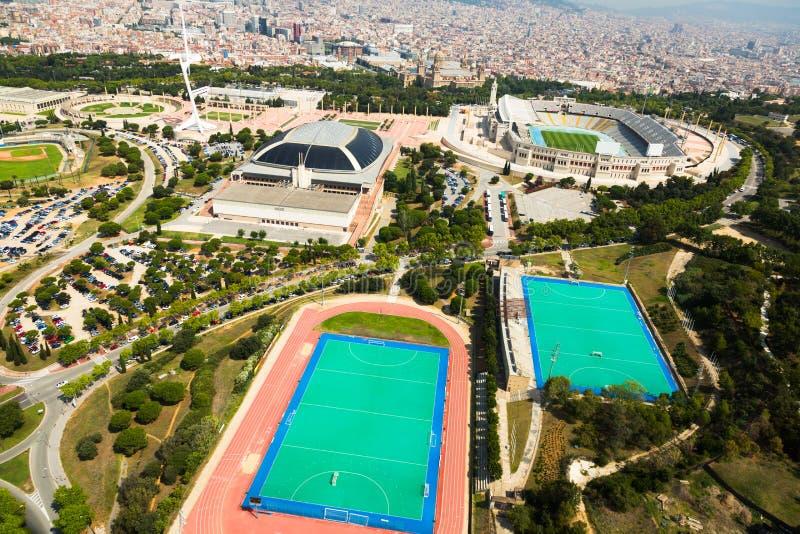 Montjuic Olimpic地区鸟瞰图  巴塞罗那 免版税图库摄影