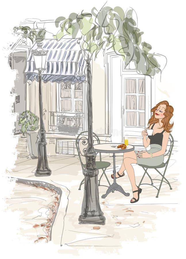 Montmarte en París - mujer el día de fiesta que desayuna stock de ilustración