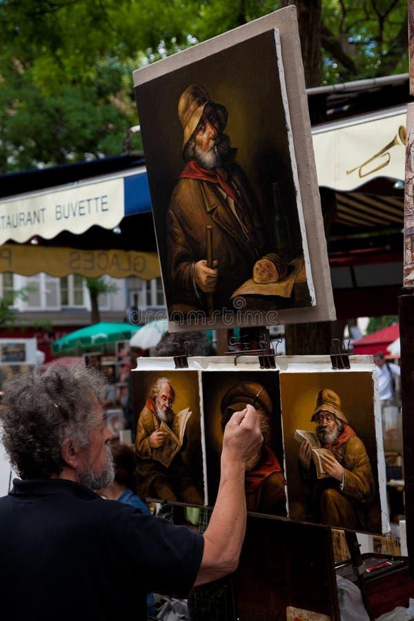 montmartre画家巴黎 免版税图库摄影