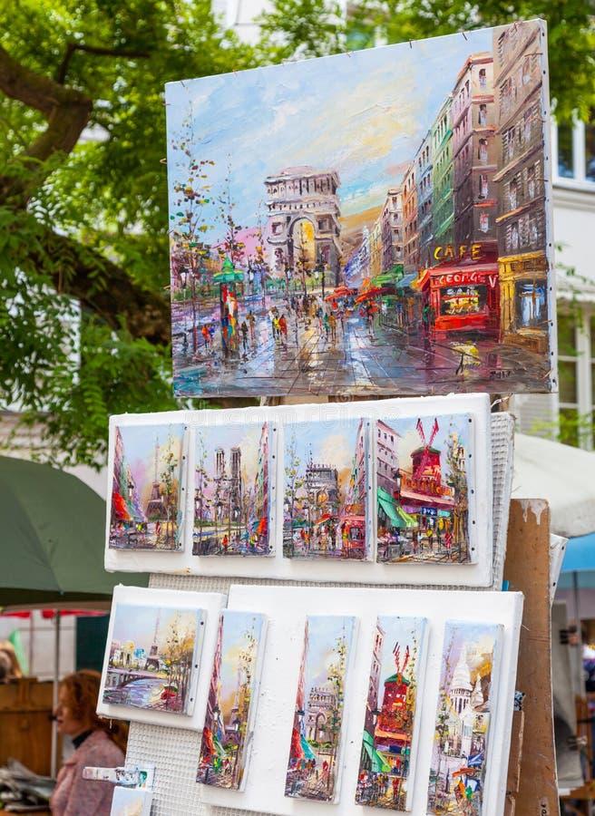 Montmartre konst på en utomhus- Stall arkivbild