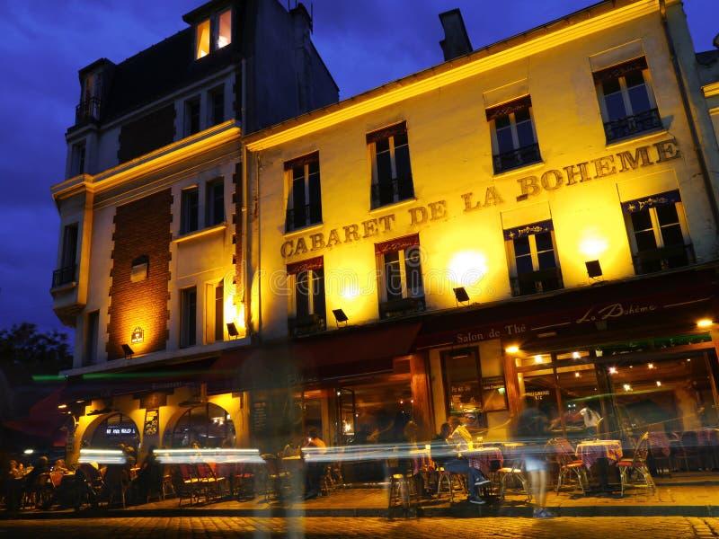Montmartre på natten i Paris royaltyfria foton
