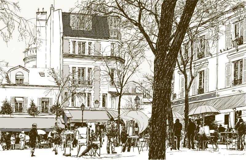 montmartre Paris śnieg royalty ilustracja
