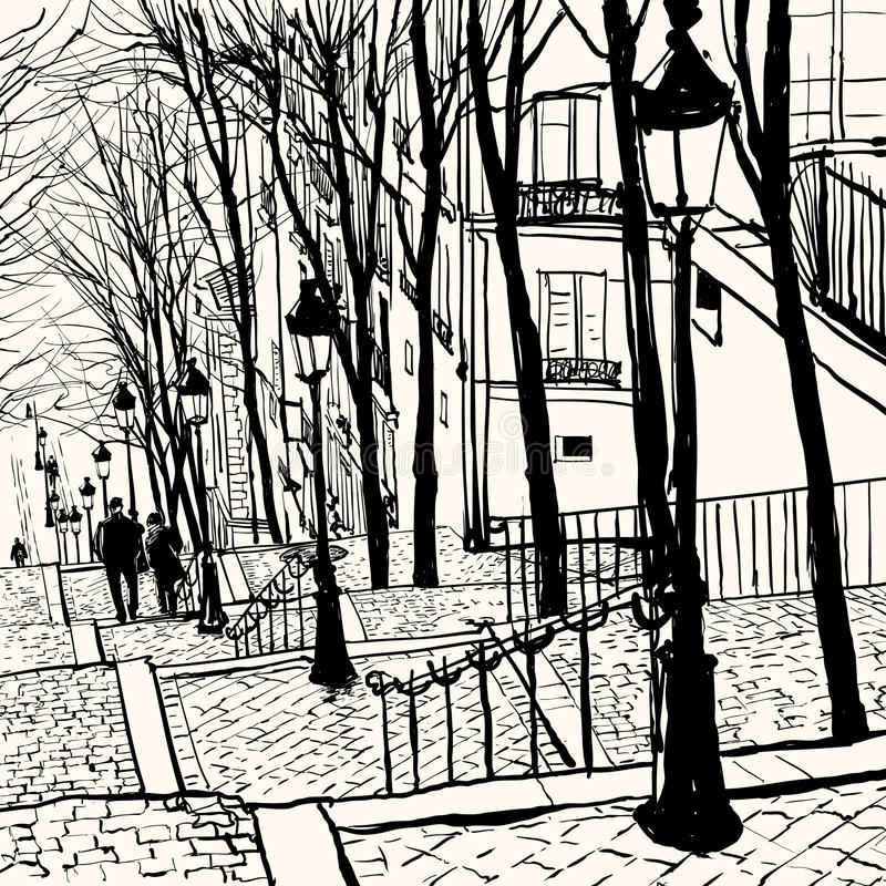 Montmartre Paris royaltyfri illustrationer