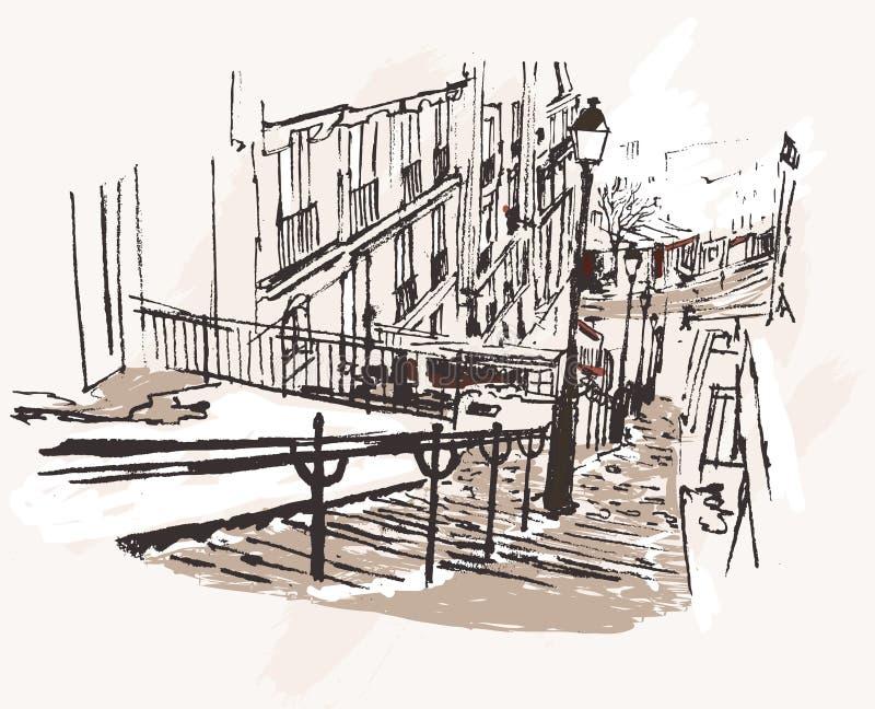 montmartre Paris widok ilustracji
