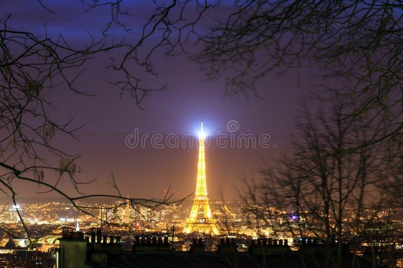 Montmartrenacht Eiffel stock afbeelding