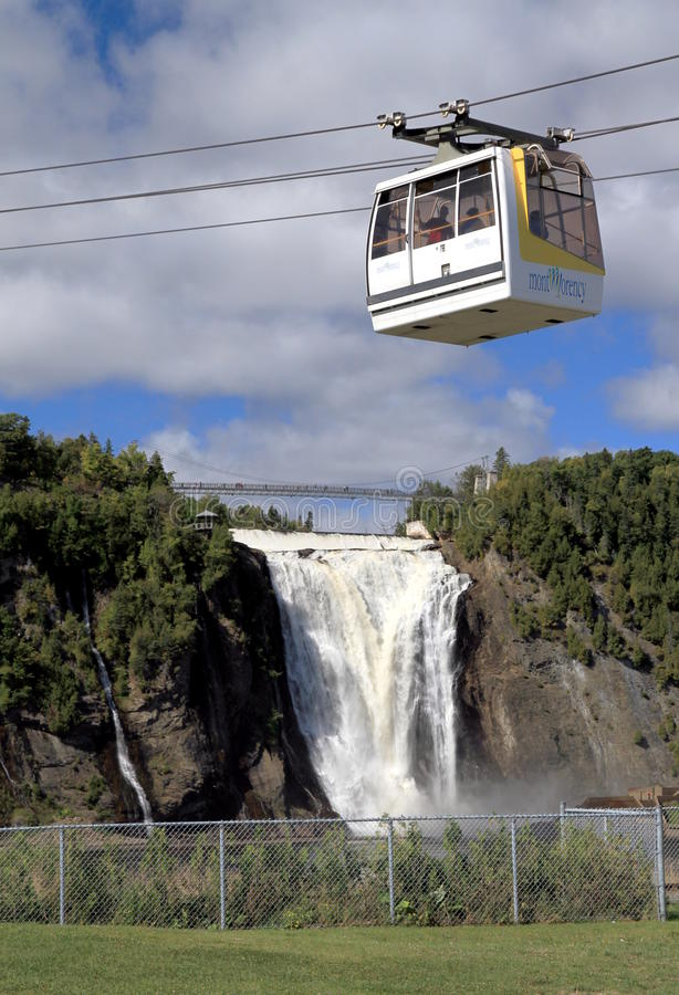 Montmorency Cable Car. A cable car transporting people at the Montmorency Falls in Quebec City stock photography