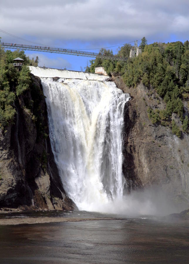 Montmorency Falls. A view of the Montmorency Falls in Quebec City stock photo