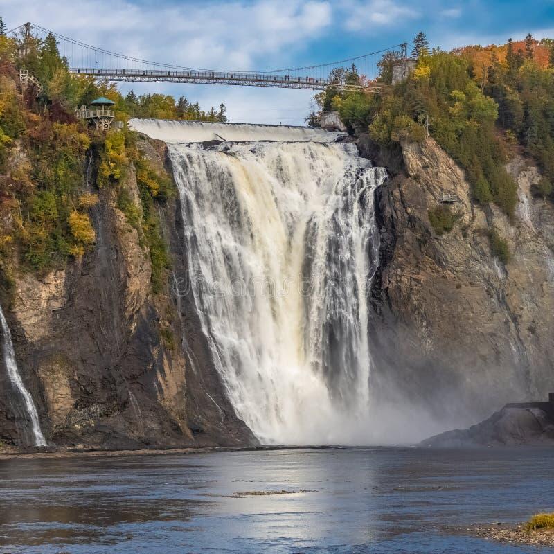 Montmorency Falls in Canada. Montmorency Falls, beautiful waterfall in Canada stock photos