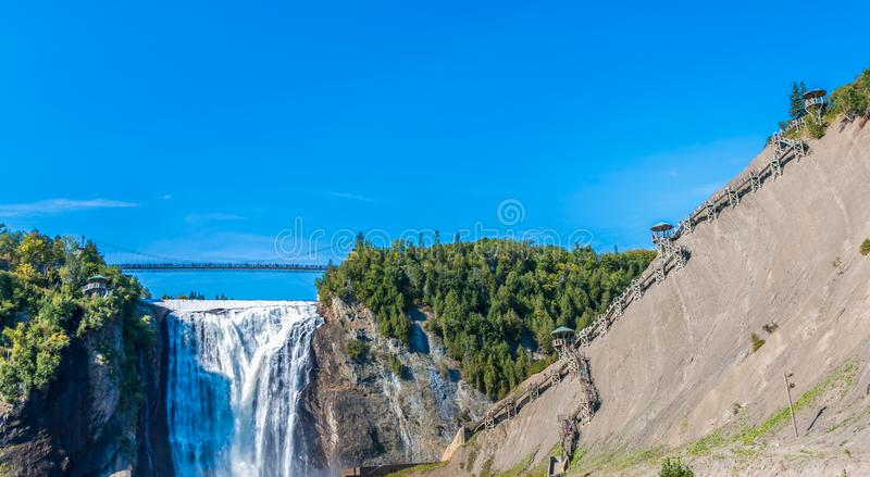 Montmorency Falls. Under Clear blue Sky royalty free stock photo