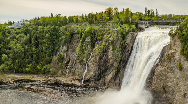 Montmorency Falls. Picture of the Montmorency Falls (Parc de la Chute-Montmorency) located just a few minutes from Quebec city stock images