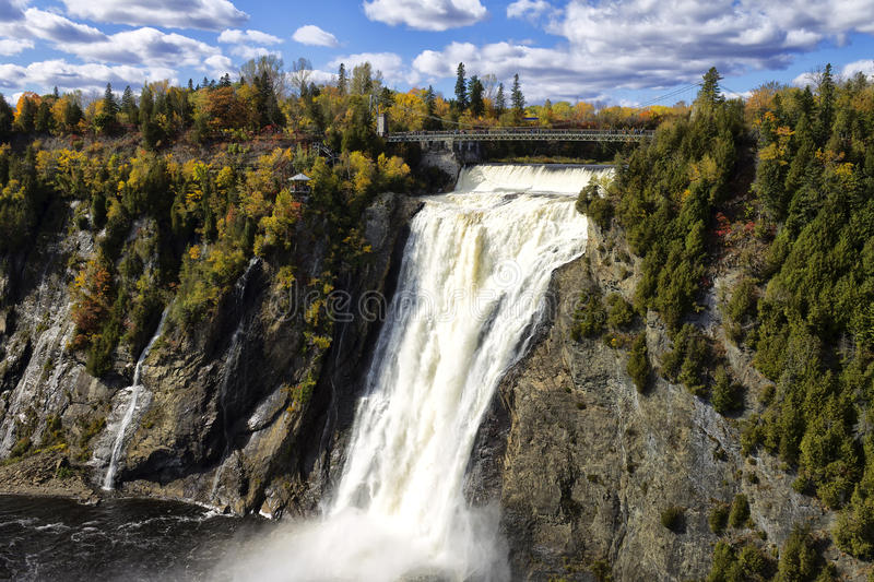Montmorency falls Quebec City. The Montmorency falls on a cloudy day stock photos