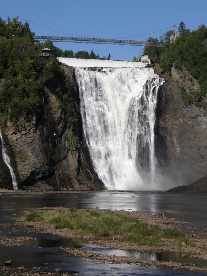 The Montmorency Falls in Quebec City, Canada. The Montmorency Falls or Chutes Montmorency in Quebec City, Canada stock photo
