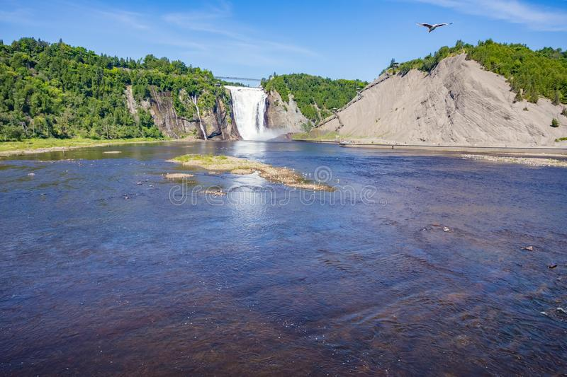 Montmorency Falls in Quebec stock photos