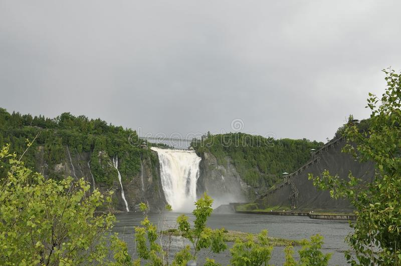 Montmorency Falls from Quebec Province in Canada. Montmorency Falls or Chute from Quebec Province in Canada on 28th June 2017 stock image