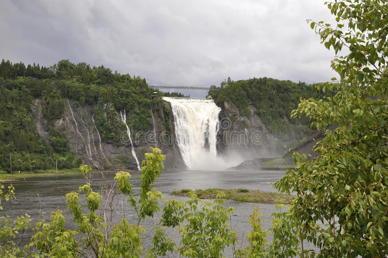 Montmorency Falls from Quebec Province in Canada. Montmorency Falls or Chute from Quebec Province in Canada on 28th June 2017 stock photo