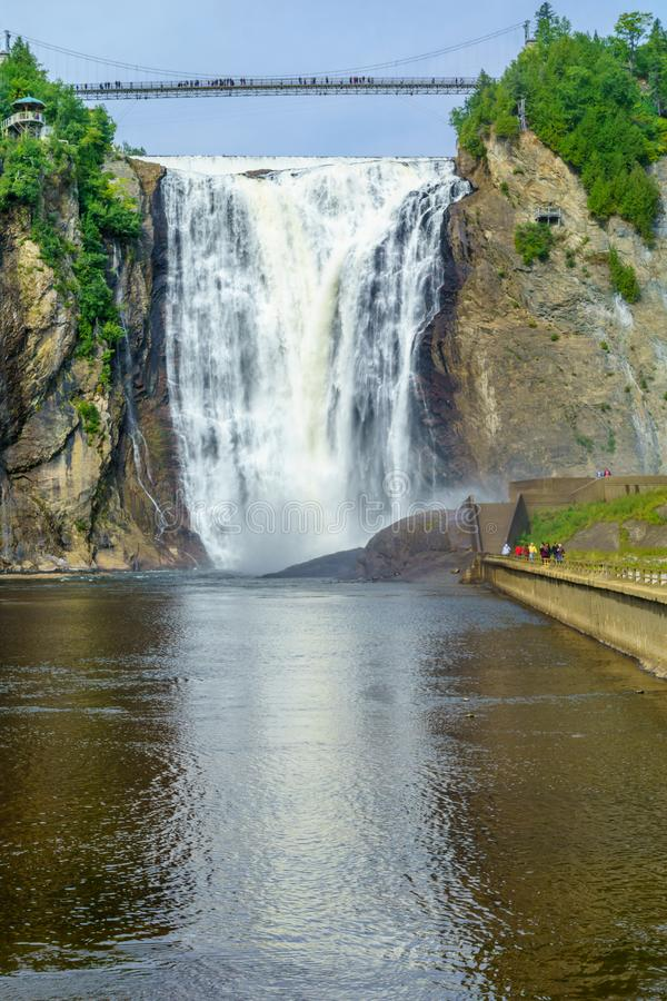 Montmorency Falls, in Quebec. View of the Montmorency Falls, in Quebec, Canada stock image