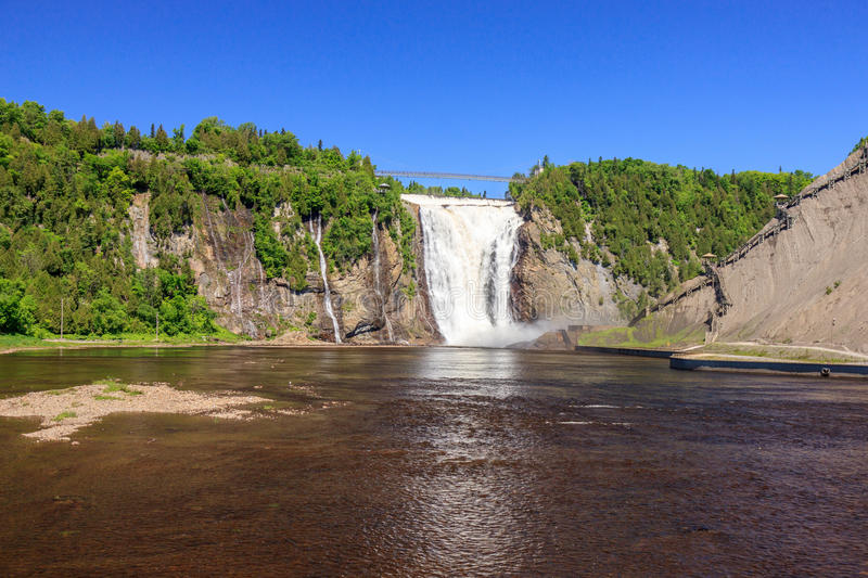 Montmorency Falls. View of the Montmorency Falls in Quebec royalty free stock images