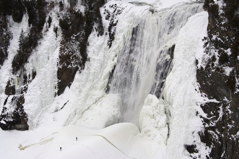 Montmorency ice waterfall Quebec City. Montmorency waterfall in winter, Quebec, Canada stock images