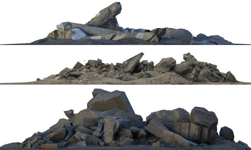 Montones de los escombros y de la ruina aislados en el ejemplo blanco 3d imagen de archivo libre de regalías