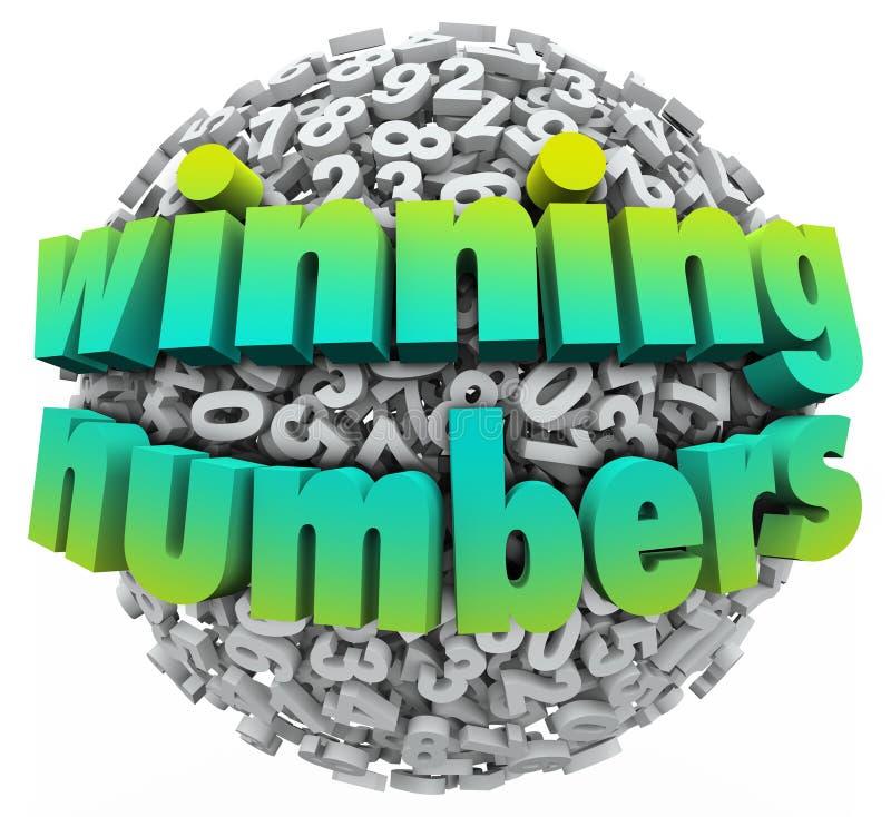 Montos totales del juego del bote de la lotería de la bola de los números que ganan ilustración del vector