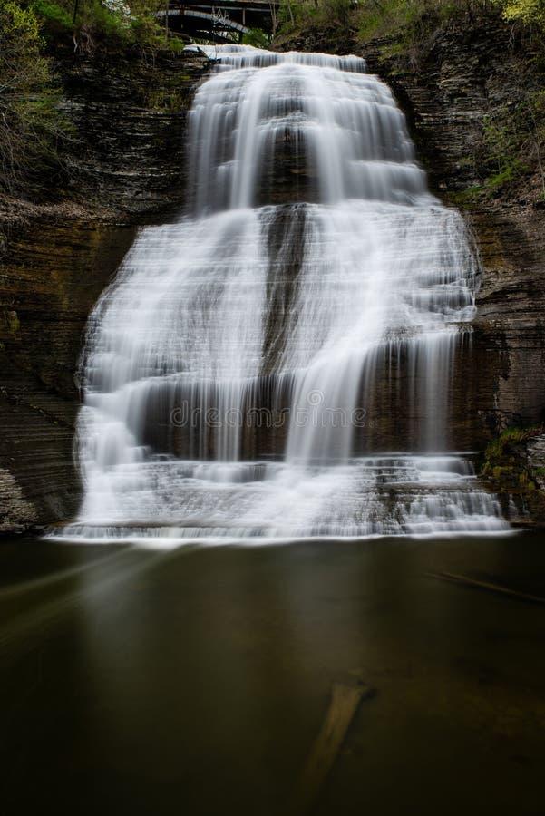 Montour понижается - долгая выдержка - водопад - Нью-Йорк стоковые фото