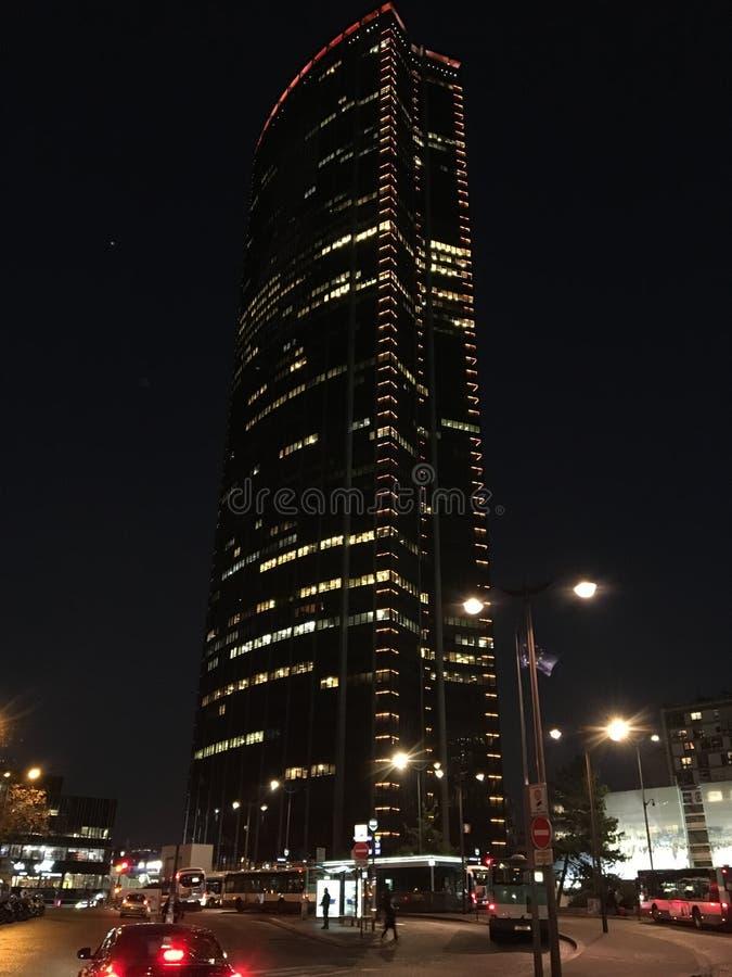 Montparnasse torn på natten royaltyfri fotografi
