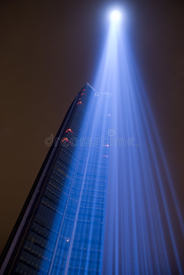 Montparnasse tower by night royalty free stock photos