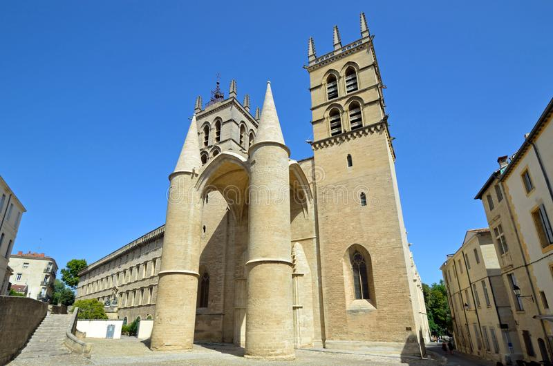 Montpellier Cathedral stock image
