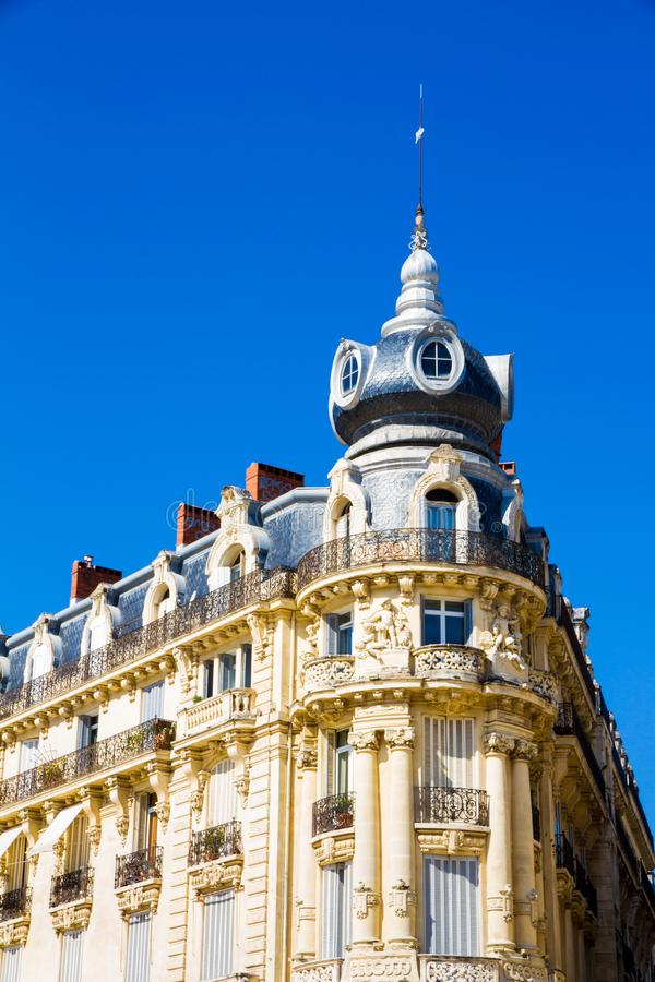 Montpellier, France. Historical buildings in Place de la Comedie in a sunny day. In summer royalty free stock images