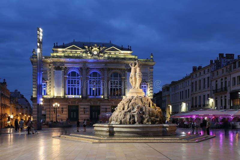 Montpellier Francia Place de la Comedie fotografia stock libera da diritti