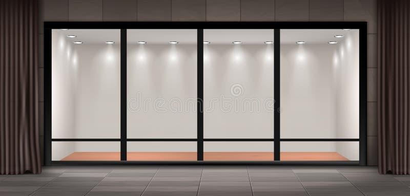 A montra do vetor, esvazia a sala de exposições iluminada ilustração stock