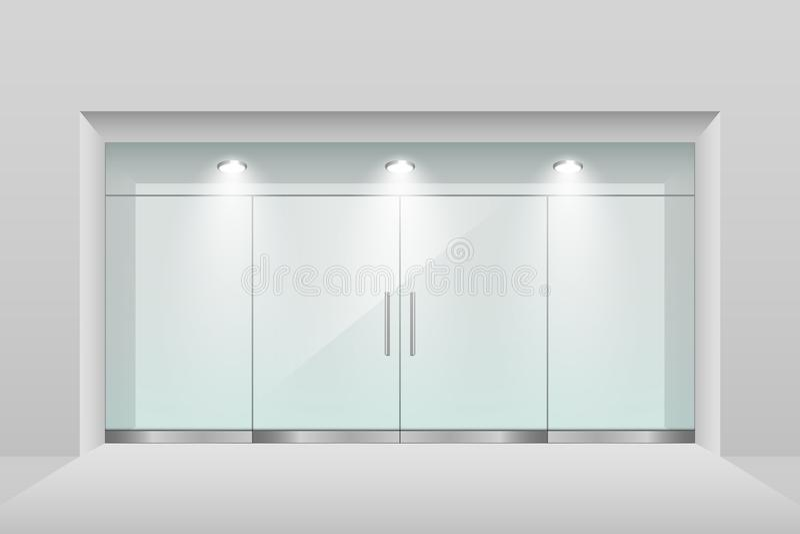 Montra vazia com iluminação do teto e a porta dobro de vidro ilustração stock