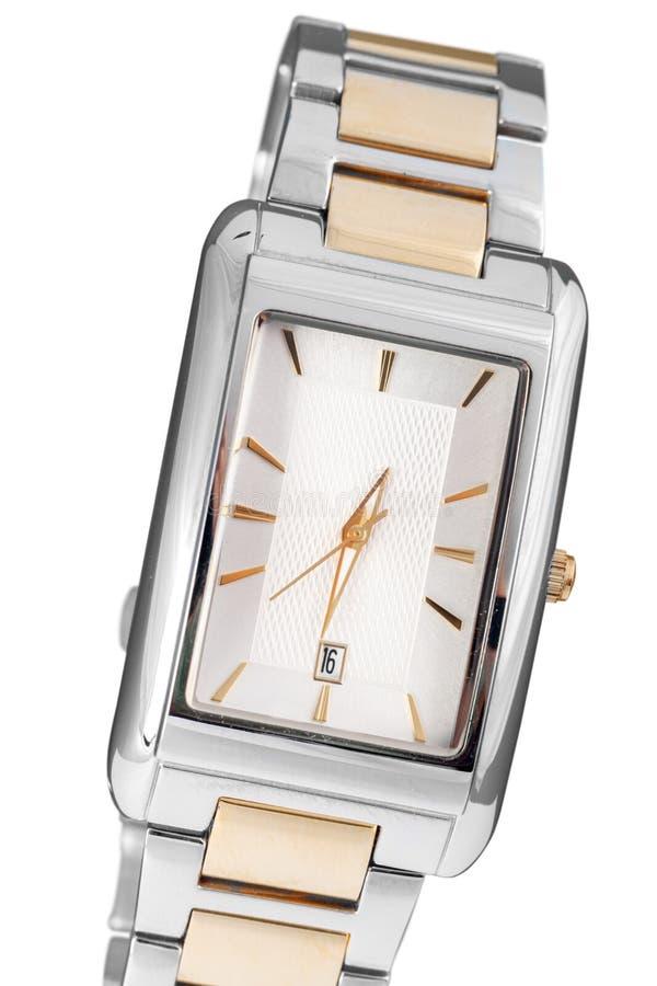 Montre-bracelet classique de femme de plan rapproché sur le blanc photo libre de droits