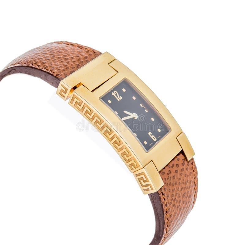 Montre-bracelet de luxe de dames sur le blanc photos libres de droits