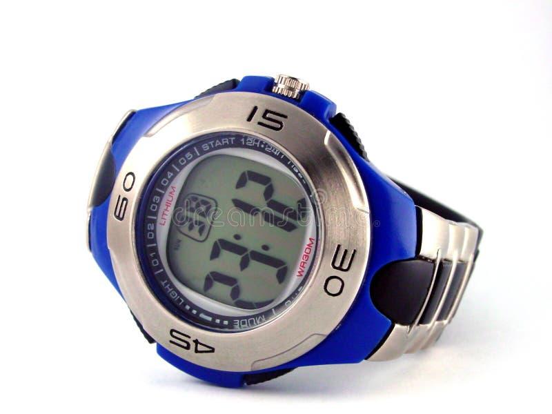 Montre-bracelet digitale bleue image libre de droits
