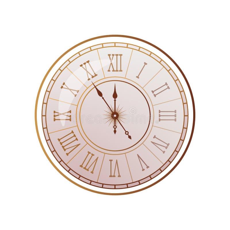 Montre d'époque avec cadran romain dans un style antique réaliste illustration vectorielle illustration libre de droits