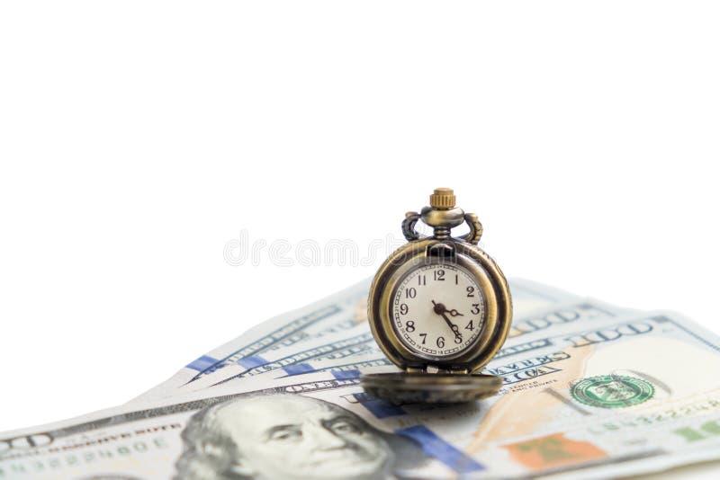 Montre d'isolement de vintage sur l'argent liquide d'argent du dollar - concept d'affaires images libres de droits