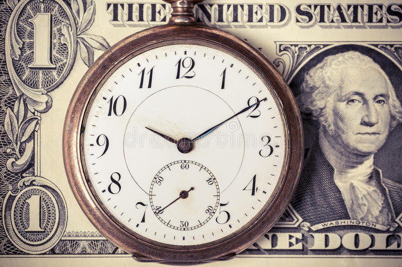 Download Montre De Poche De Vintage Sur Le Billet De Banque Du Dollar Photo stock - Image du financier, fond: 77159996