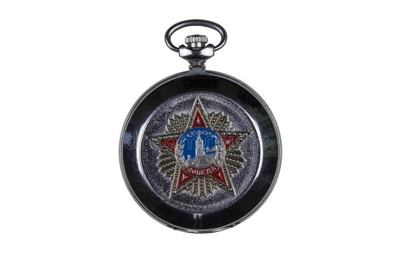 Montre de poche soviétique sur le fond blanc images stock