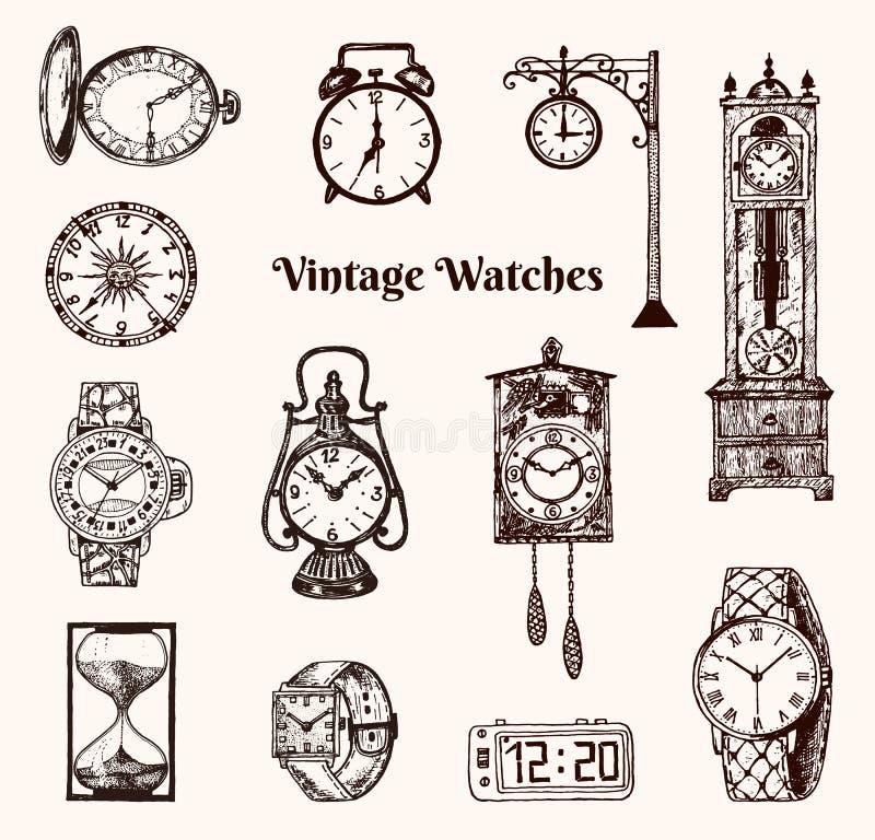 Montre de poche de vintage, réveil, sablier classique et cadran montrant le temps Éléments antiques de collection main gravée illustration de vecteur