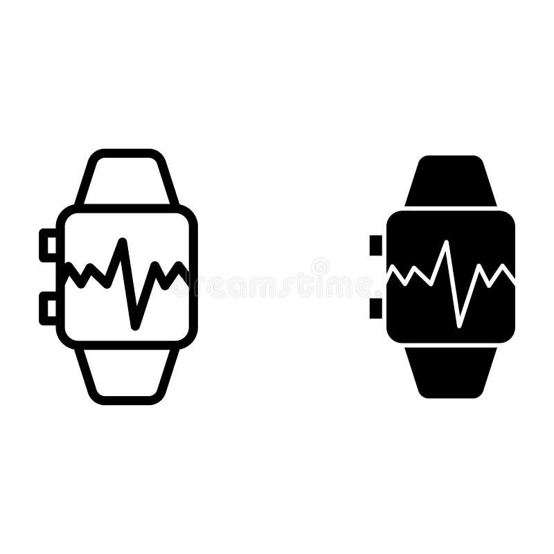 Montre intelligente avec la ligne d'impulsion et l'icône de glyph Montre intelligente avec l'illustration de vecteur de battement illustration libre de droits
