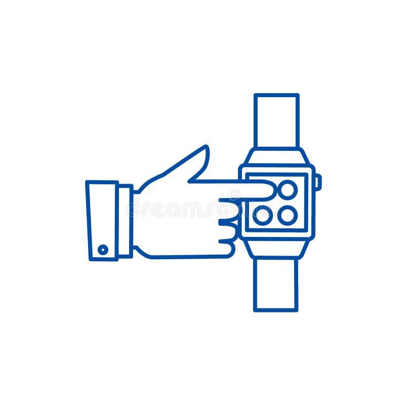 Montre intelligente, main touchant la ligne concept de montre d'icône Montre intelligente, main touchant le symbole plat de vecte illustration libre de droits
