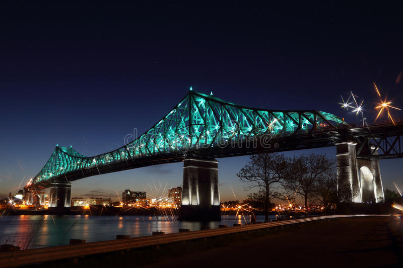 Download Montreal's 375th Anniversary. Jacques Cartier Bridge. Bridge Panoramic Colorful Silhouette By Night Stock Photo - Image of 375th, bridg: 94581612