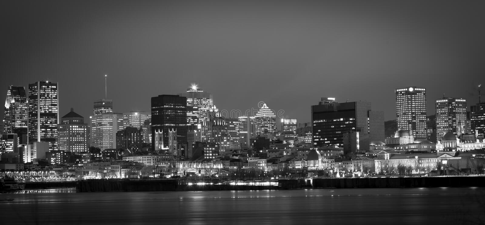 Montreal. B and W photography of Montreal by nigth stock photos