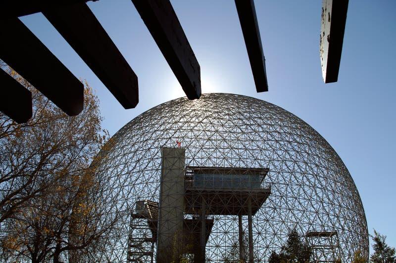 Montreal biosphere. Montreal Quebec Canada. landmark biosphere architecture structure metallic dome pavilion stock image