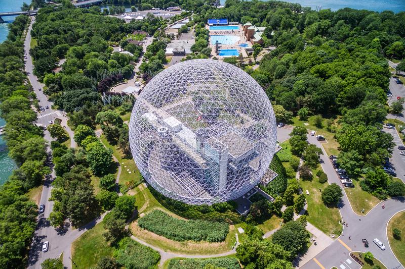 Montreal Biosphere Aerial View in Montreal, Quebec, Canada royalty free stock photo