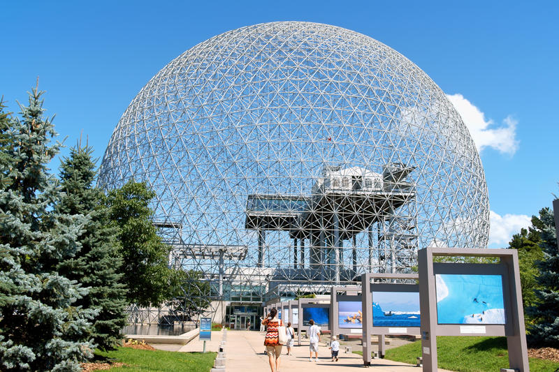 Montreal Biosphere in Canada. Montreal, Canada - August 9, 2008: the geodesic dome called Montreal Biosphere is a museum in Montreal dedicated to water and the stock photo