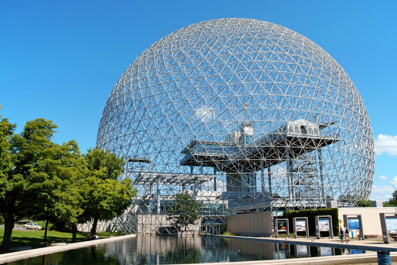 Montreal Biosphere, Canada. Montreal, Canada - August 9, 2008: the geodesic dome called Montreal Biosphere is a museum in Montreal dedicated to water and the stock photography