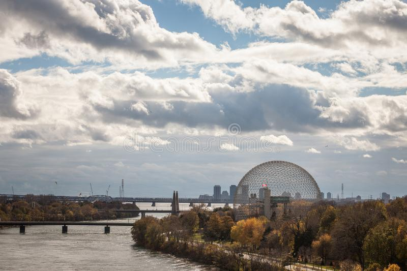 Montreal Biosphere, on Ile Sainte Helene Island, in Jean Drapeau park, taken during an autumn afternoon. MONTREAL, CANADA - NOVEMBER 8, 2018: It is one of the royalty free stock image